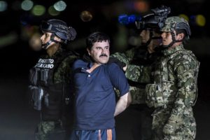 "Joaquin Guzman Loera, also known as ""El Chapo"" is transported to Maximum Security Prison of El Altiplano in Mexico City, Mexico on January 08, 2016. Guzman Loera, leader of Mexico's Sinaloa drug Cartel, was considered the Mexican most-wanted drug lord. Mexican marines captured ""El Chapo"" on Friday in Sinaloa, North of Mexico. Photo by Daniel Cardenas/Anadolu Agency/Getty Images"