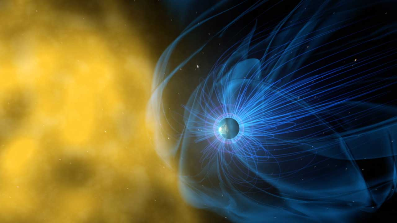 The Earth's magnetosphere runs from the north to south pole, but solar winds can approach in different orientations. Image by NASA