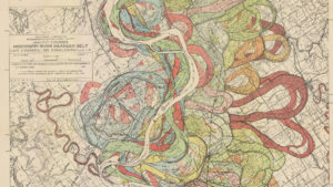 Once hidden in an Army Corps of Engineers report from 1944, this map shows how the Mississippi River has changed course over the past 6,000 years, using layers of bright colors. Image courtesy of U.S. Army Corps of Engineers, ERDC