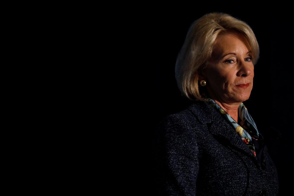 Secretary of Education Betsy DeVos delivers remarks about administration efforts to increase school safety at The National Parent-Teacher Association Legislative Conference in Arlington, Virginia on March 13, 2018. Photo by Aaron P. Bernstein/Reuters