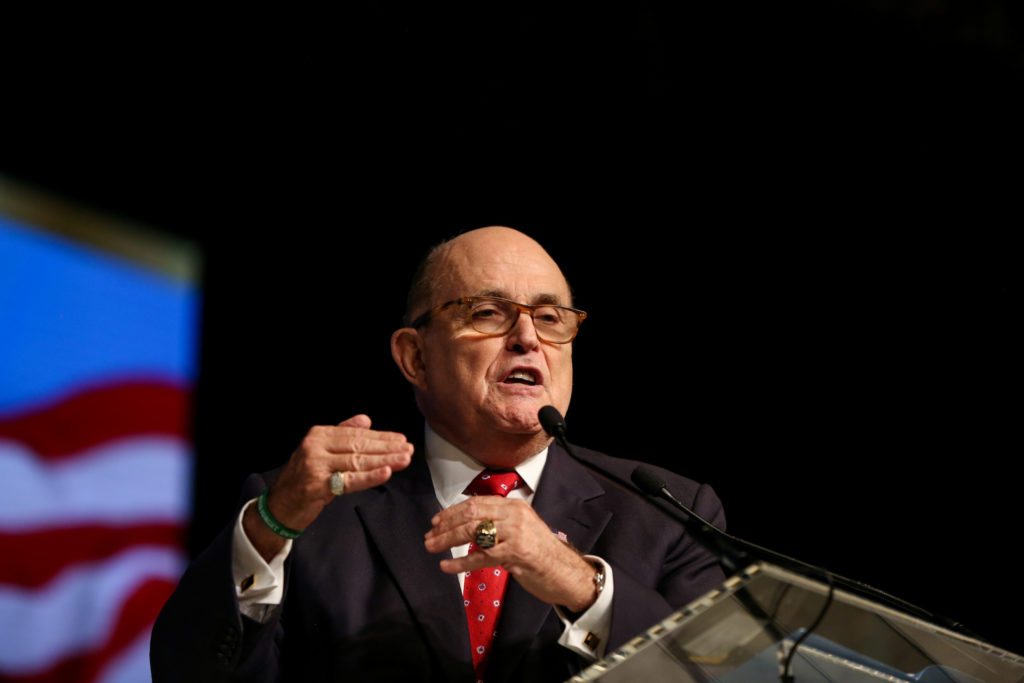 Rudolph Giuliani, former Mayor of New York City, delivers a speech during the 2018 Iran Uprising Summit in Manhattan, New ...