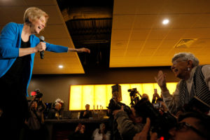 """U.S Senator Elizabeth Warren takes the stage at an """"organizing event,"""" after forming an exploratory committee for the 2020 presidential race, in Council Bluffs, Iowa, U.S., January 4, 2019. Photo by Brian Snyder/Reuters"""