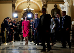 Speaker of the House Nancy Pelosi (D-CA) walks after speaking to the media about the ongoing partial government shutdown on Capitol Hill in Washington, U.S., January 3, 2019. Photo by Joshua Roberts/Reuters