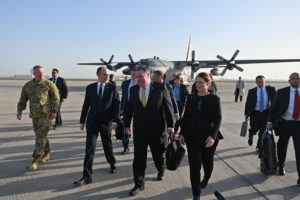 U.S. Secretary of State Mike Pompeo is welcomed by U.S. ambassador to Iraq Douglas Silliman as he arrives in Baghdad, Iraq, during a Middle East tour. Andrew Caballero-Reynolds/Pool via REUTERS