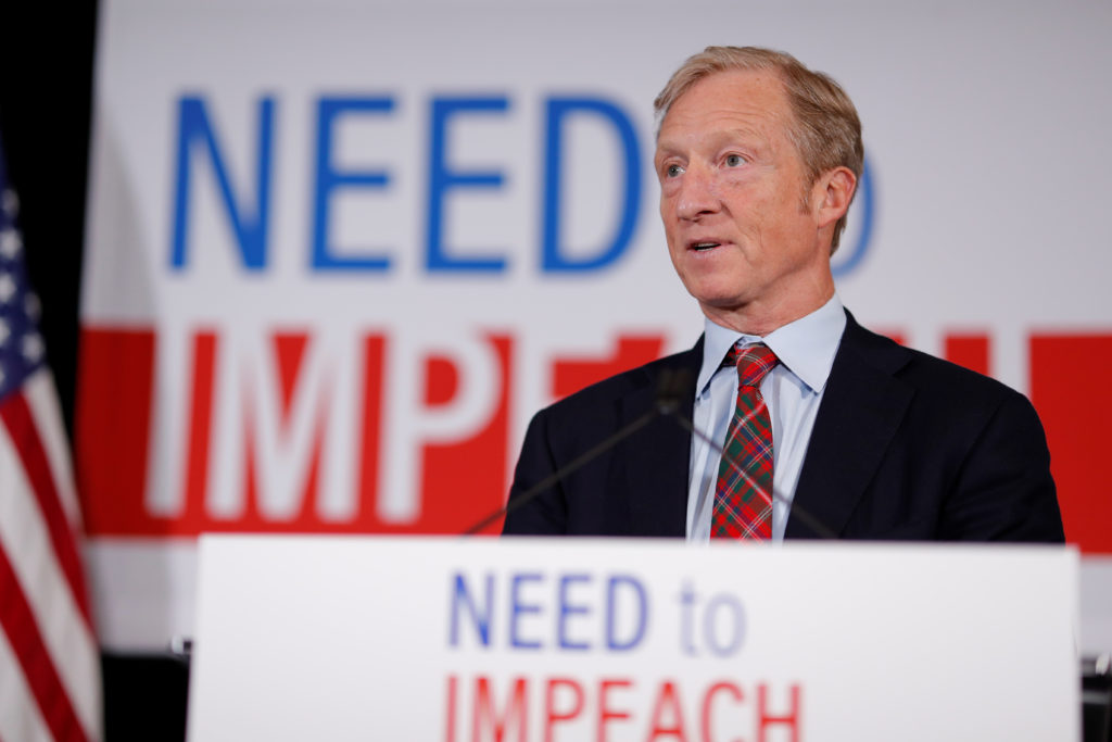 """Billionaire donor and liberal activist Tom Steyer, who founded the """"Need to Impeach"""" campaign, speaks during a news confer..."""