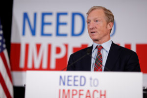 "Billionaire donor and liberal activist Tom Steyer, who founded the ""Need to Impeach"" campaign, speaks during a news conference announcing his future political plans, in Des Moines, Iowa on January 9, 2019. Photo by Matthew Putney/Reuters"