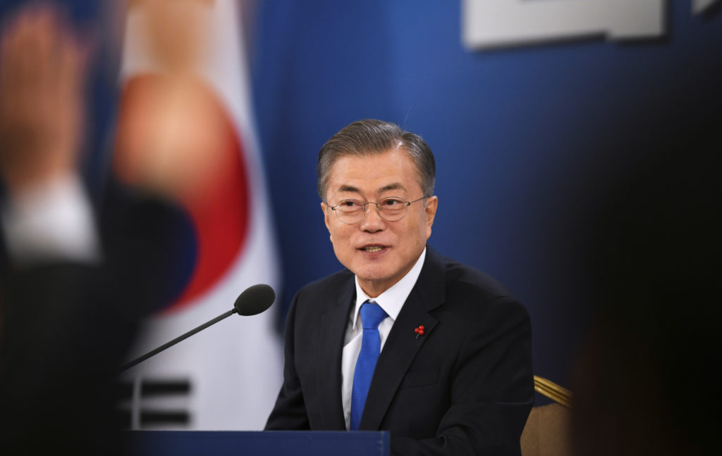 South Korean President Moon Jae-in holds his New Year press conference at the presidential Blue House in Seoul on January ...