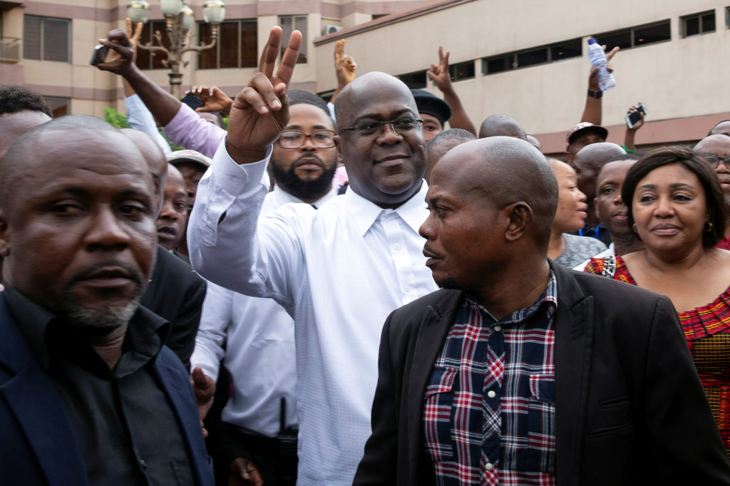 Felix Tshisekedi, leader of the Congolese main opposition party, the Union for Democracy and Social Progress (UDPS) who was announced as the winner of the presidential elections gestures to his supporters in Kinshasa, Democratic Republic of Congo on January 10, 2019. Photo by Baz Ratner/Reuters