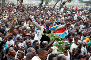 Supporters of Felix Tshisekedi, leader of the Congolese main opposition party, the Union for Democracy and Social Progress (UDPS) who was announced as the winner of the presidential elections, celebrate outside the party's headquarters in Kinshasa, Democratic Republic of Congo on January 10, 2019. Photo by Baz Ratner/Reuters