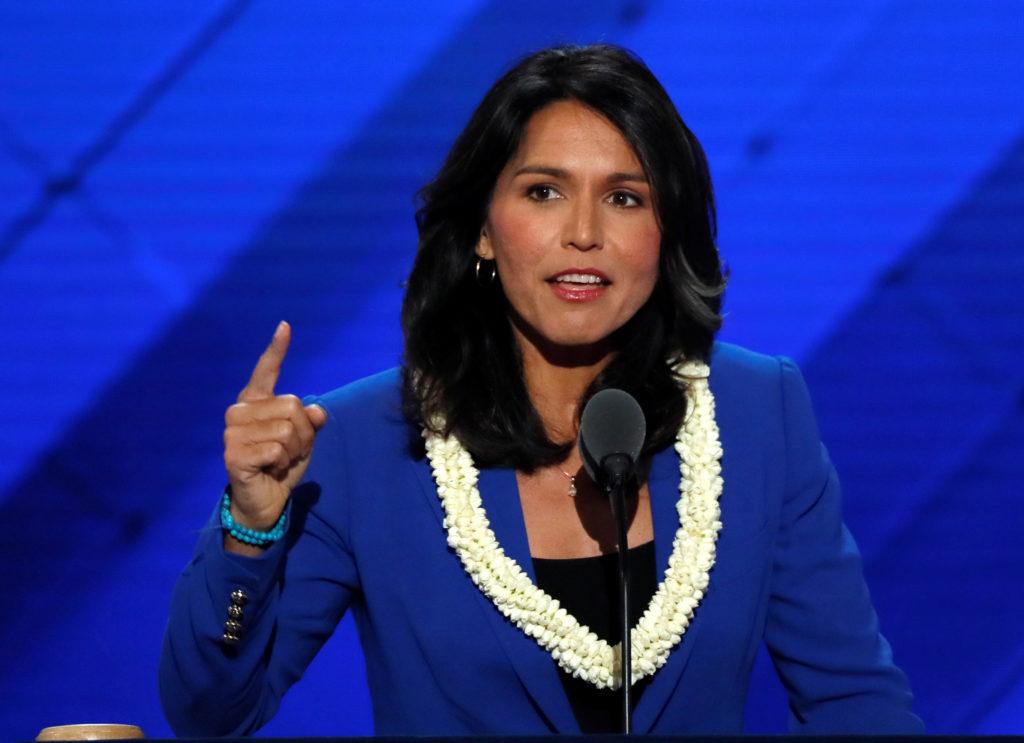 U.S. Representative Tulsi Gabbard (D-Hawaii) delivers a nomination speech for Senator Bernie Sanders on the second day at ...