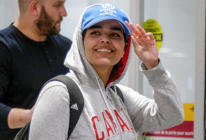 Rahaf Mohammed al-Qunun arrives at Toronto Pearson International Airport in Toronto, Ontario, Canada January 12, 2019. Photo by Carlos Osorio/Reuters