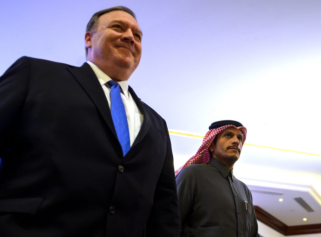 U.S. Secretary of State Mike Pompeo and Qatari Deputy Prime Minister and Minister of Foreign Affairs Sheikh Mohammed bin Abdulrahman Al-Thani, arrive at the Sheraton Grand to hold a joint press conference in Doha, Qatar January 13, 2019. Andrew Caballero-Reynolds/Pool via Reuters