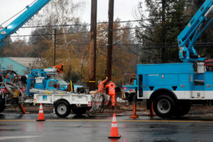 PG&E works on power lines to repair damage caused by the Camp Fire in Paradise, California on November 21, 2018. Photo by Elijah Nouvelage/Reuters