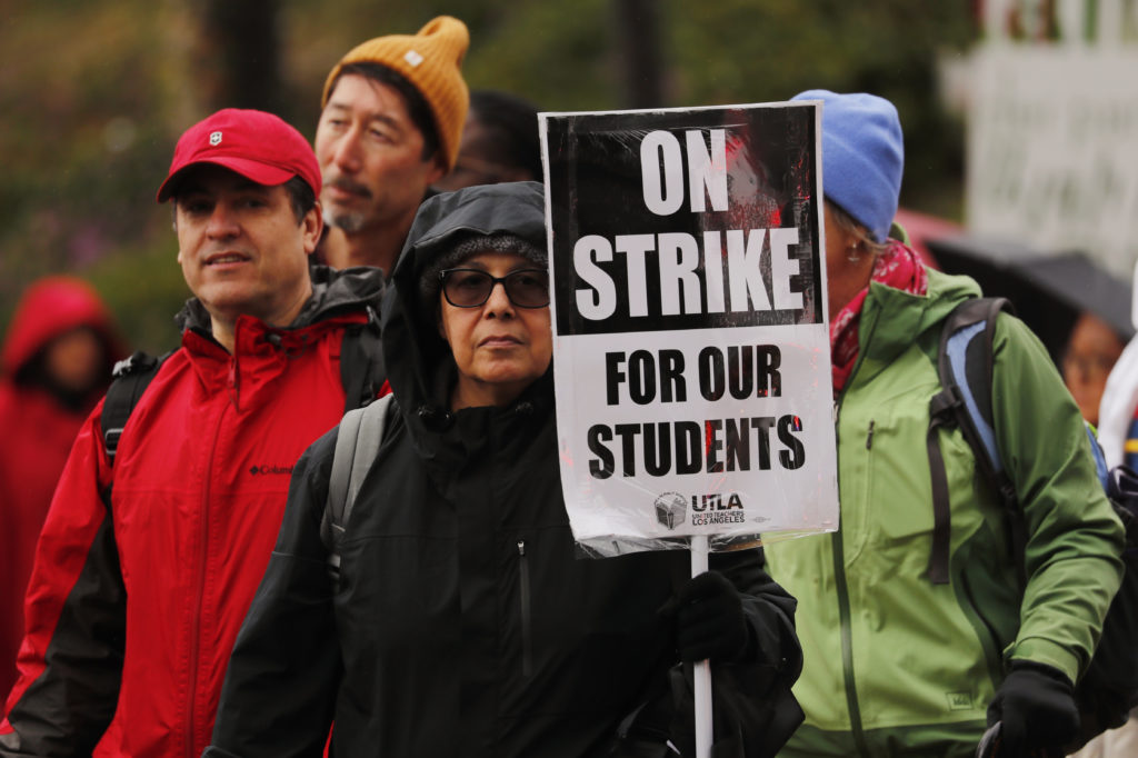 Some of the more than 30,000 teachers in the Los Angeles public school system hold a rally at City Hall after going on strike in Los Angeles on January 14, 2019. Mike Blake/Reuters