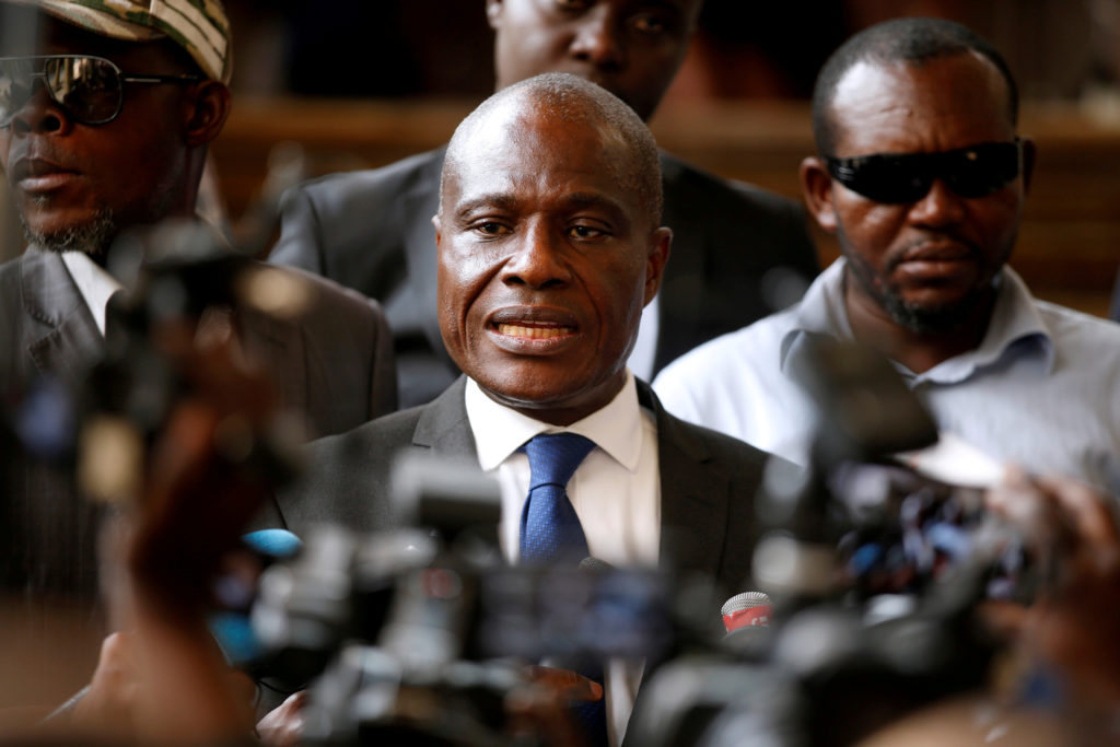Martin Fayulu, former Congolese joint opposition presidential candidate, talks to members of the press as he leaves a meeting regarding the code of good conduct ahead of December 30 elections in Kinshasa, Democratic Republic of Congo, December 29, 2018. Photo by Baz Ratner/Reuters