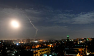 This photo, released by the Syrian official news agency SANA, shows missiles flying into the sky near international airport, in Damascus, Syria on Jan. 21, 2019. In a very unusual move, the Israeli military has issued a statement saying it is attacking Iranian military targets in Syria. It is also warning Syrian authorities not to retaliate against Israel. Photo by SANA via Reuters