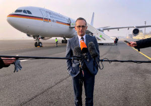 German Foreign Minister Heiko Maas gives a statement before his departure to Washington in Berlin, Germany, January 23, 2019.  Photo by Martin Schlicht/Reuters