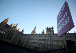A sign is seen during an anti-Brexit demonstration outside the Houses of Parliament in London, Britain on January 28, 2019. Photo by Hannah McKay/Reuters