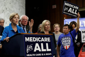 "Senator Elizabeth Warren, D-Mass., speaks during an event to introduce the ""Medicare for All Act of 2017"" on Capitol Hill on September 13, 2017. Yuri Gripas/Reuters"