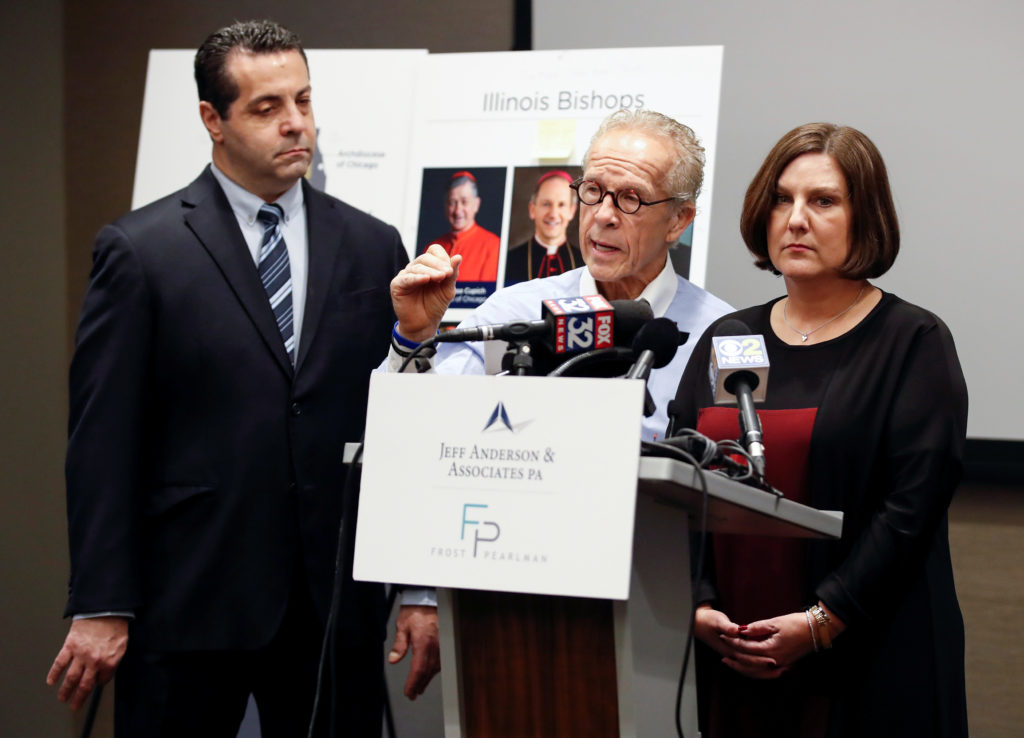 Cindy Yesko is presented as a survivor of clergy sex abuse by a leg…