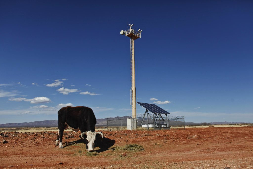 A solar and hydrogen powered Border Patrol camera station is located on a rancher's property adjacent to the Arizona-Mexico border near Naco, Arizona. Border Patrol uses a variety of tools to detect immigrants crossing the southern border. Samantha Sais/Reuters