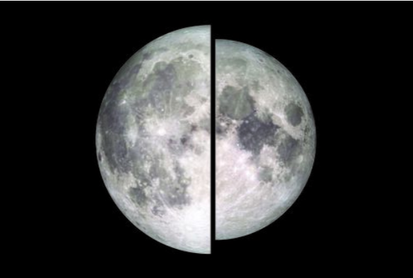 The moon at perigee, or closest approach (left), appears 14 percent larger than the moon at apogee, or its farthest distance from Earth (right). Image courtesy of NASA/Goddard/Lunar Reconnaissance orbiter