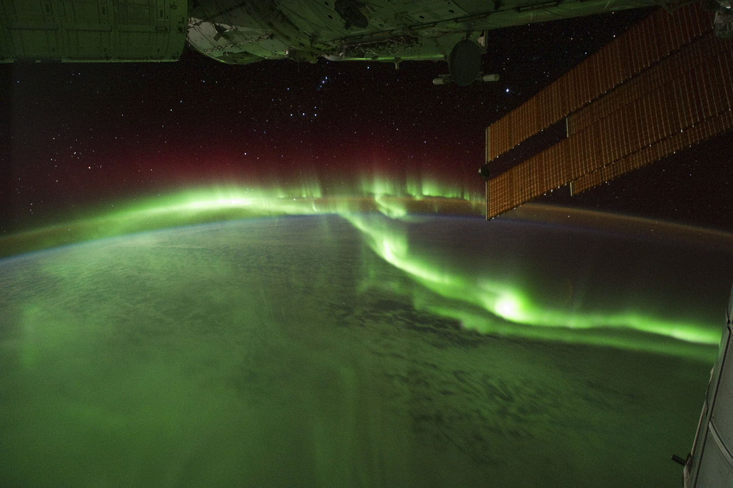 The aurora borealis and aurora australis can be seen from the International Space Station. Image by NASA