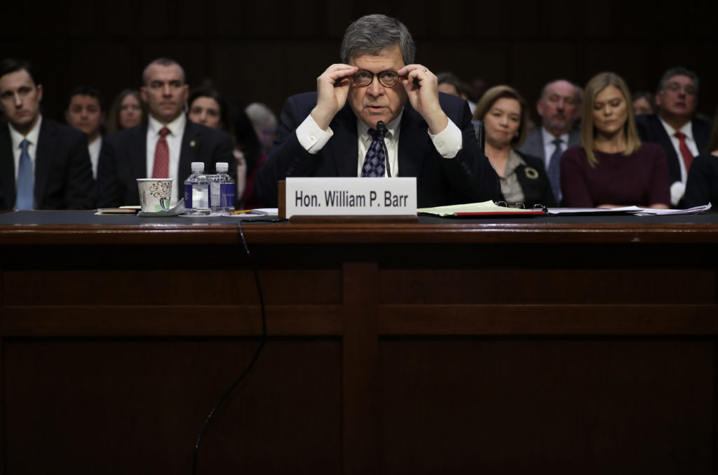 U.S. Attorney General nominee William Barr testifies at his confirmation hearing before the Senate Judiciary Committee Jan...