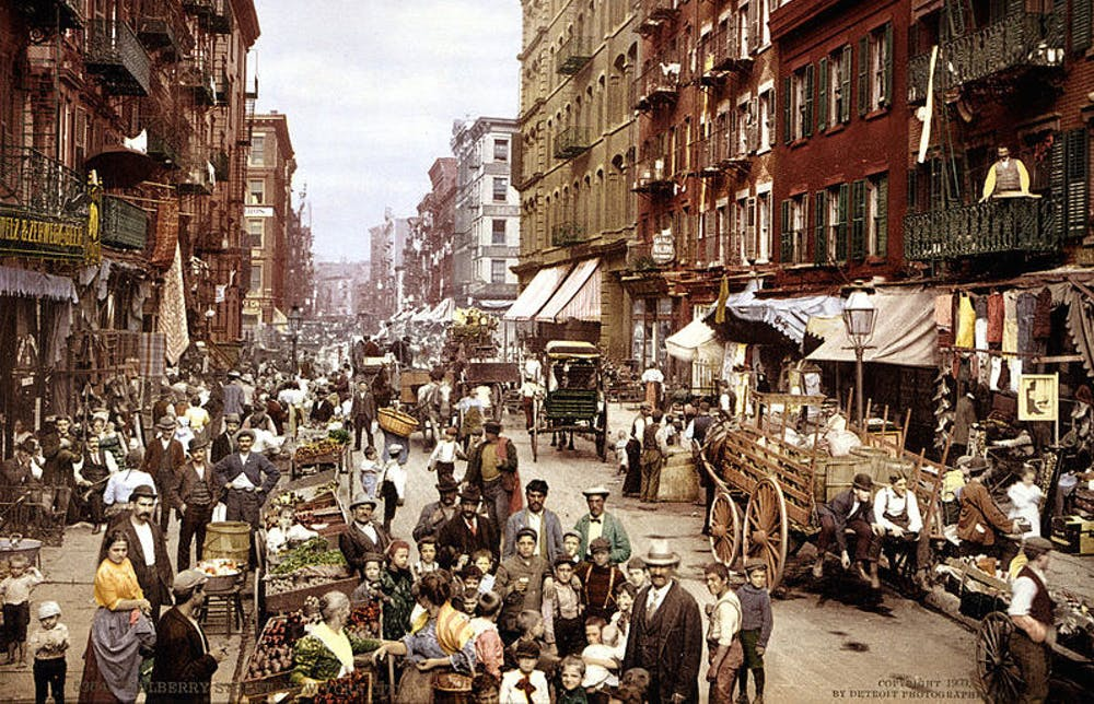 By the turn of the century, the city's congested streets could be choked with people, but without a green leaf in sight. Photo by Library of Congress