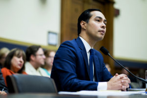 Julian Castro, secretary of U.S. Housing and Urban Development (HUD), listens during a House Financial Services Committee hearing in Washington, D.C., U.S., on Wednesday, July 13, 2016. Distressed Asset Stabilization Program recoveries were 16% higher than recoveries on assets conveyed through traditional foreclosure action in last fiscal year, Castro said. Photographer: Pete Marovich/Bloomberg via Getty Images