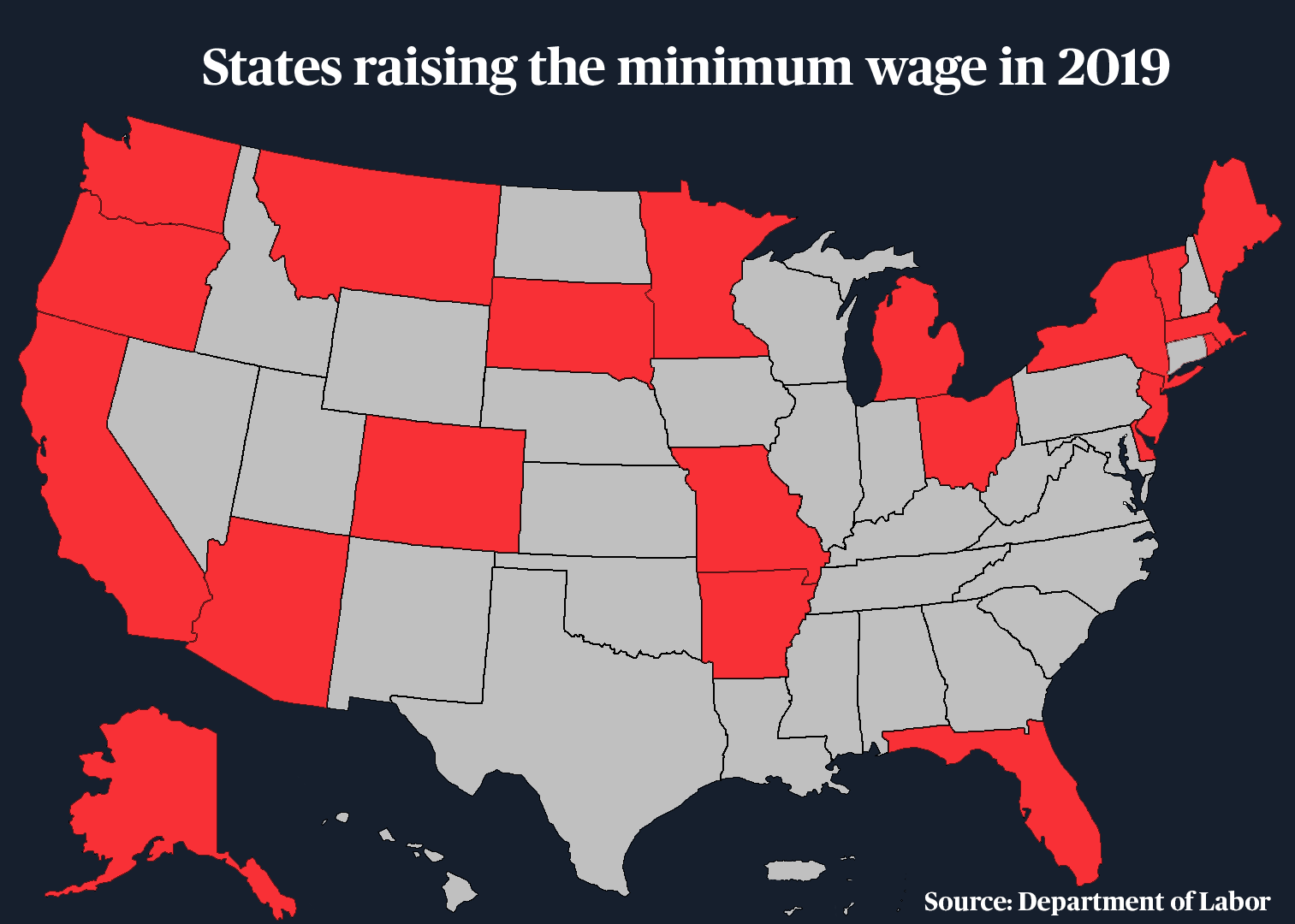 Prices rise as the minimum wage increases in several states