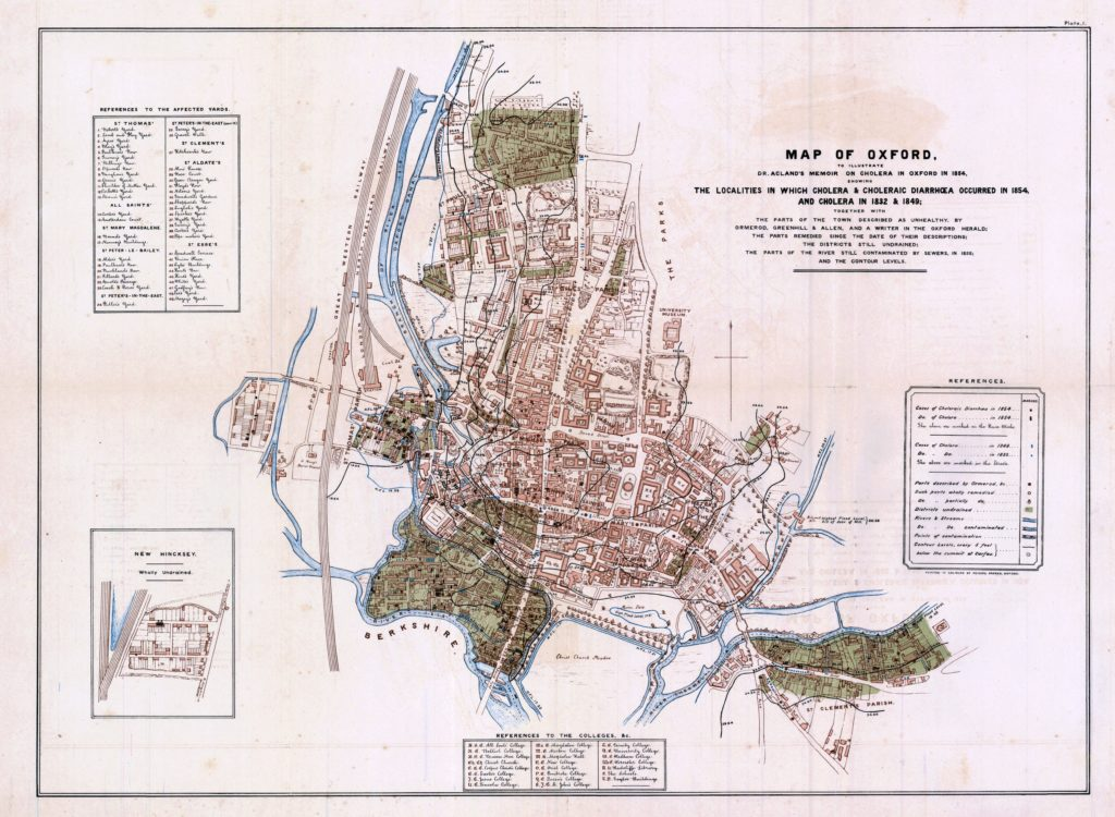 "Henry Wentworth Acland created maps that correlated cholera-stricken areas of Oxford, England with their elevation, providing mistaken support for the theory that ""miasma"" or toxic air would collect in low-lying areas and cause disease. Image courtesy of Princeton University Library"