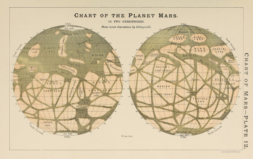 "Maps made by Italian astronomer Giovanni Schiaparelli in the late 1800s depicted features on Mars as straight lines that he called ""canali,"" Italian for either man-made canals or natural channels. These maps prompted an American astronomer named Percival Lowell to embrace and promote the idea that they were created by intelligent beings. Image courtesy of Library of Congress"