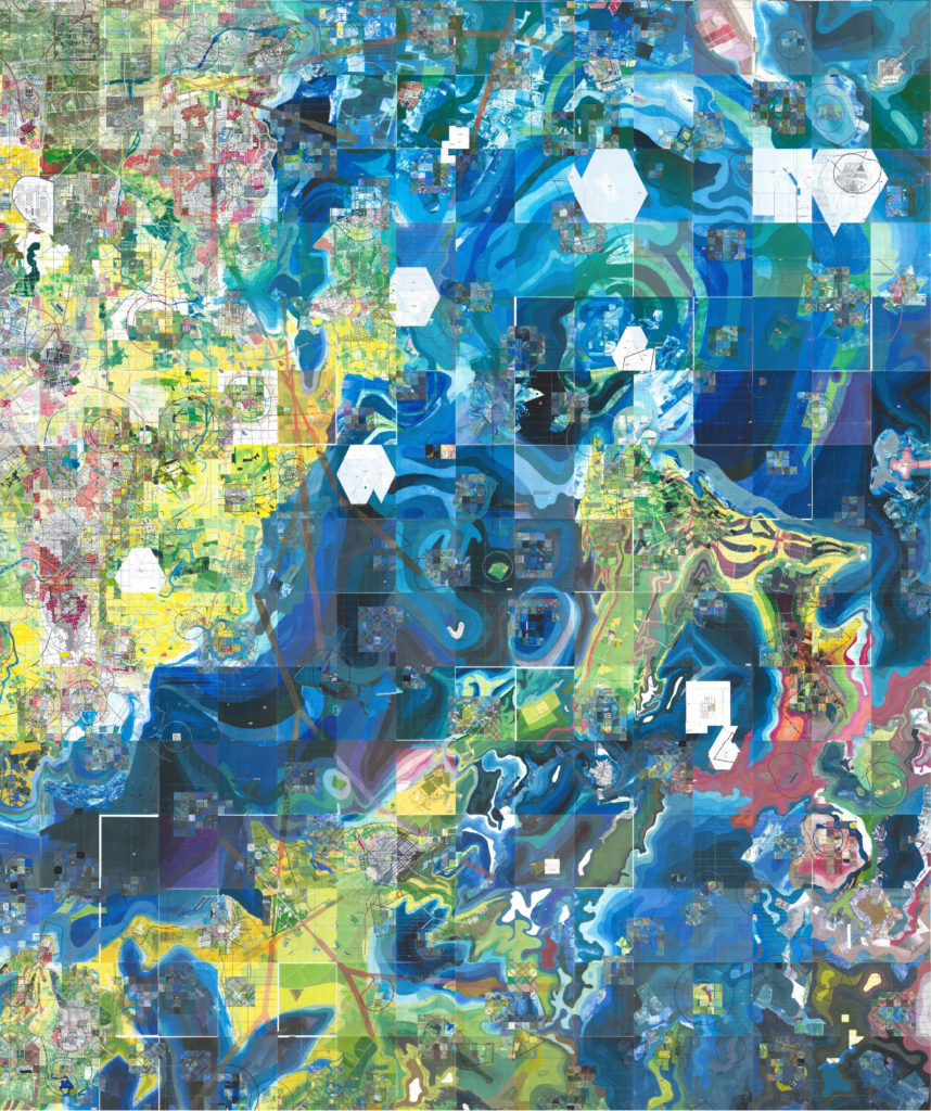 Jerry Gretzinger's map began with doodles drawn out of boredom. Now, it consists of thousands of panels of paint, pen and collage depicting the swirling oceans, cities and land masses of an imaginary world. Image courtesy of Jerry Gretzinger