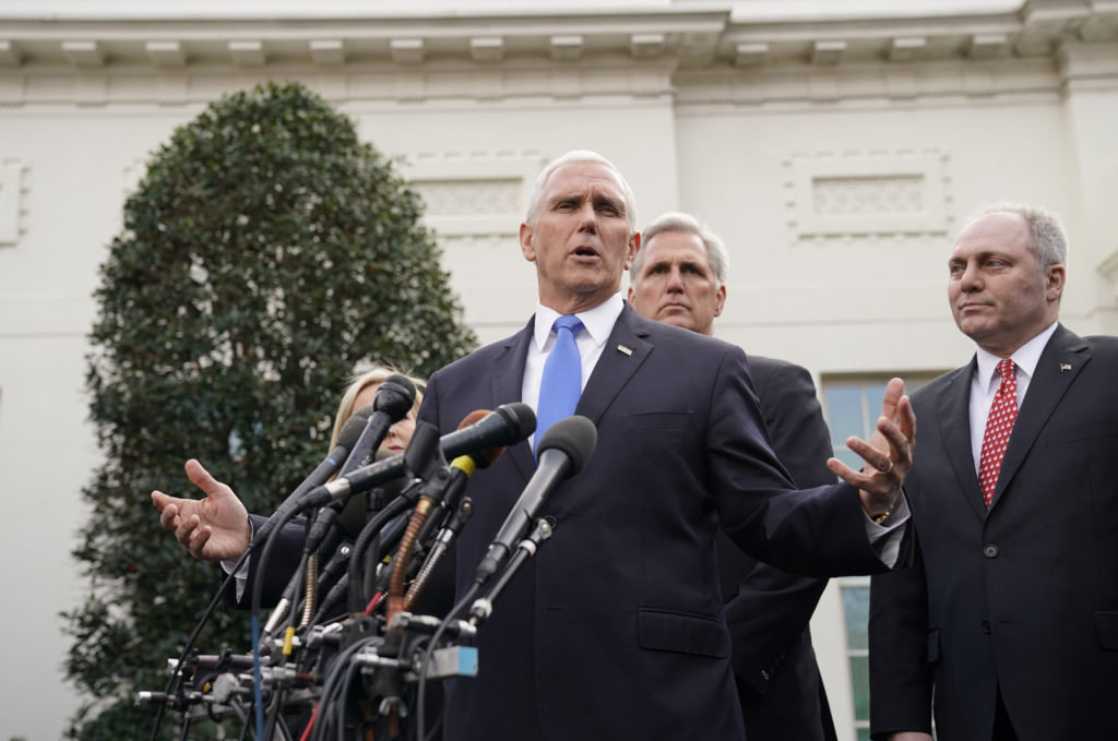 Vice President Mike Pence speaks to reporters with House Minority Leader Kevin McCarthy and House Minority Whip Steve Scalise after a meeting with President Donald Trump and Congressional Democrats about the U.S. government partial shutdown and the president's demand for a border wall in the Situation Room at the White House in Washington, U.S., January 9, 2019. REUTERS/Joshua Roberts