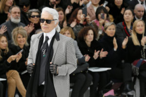 German designer Karl Lagerfeld appears at the end of his Haute Couture Spring Summer 2015 fashion show for French fashion house Chanel in Paris in 2015. Photo by Gonzalo Fuentes/Reuters