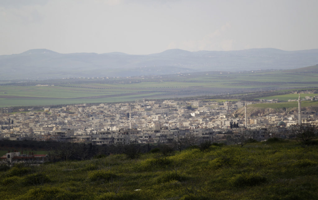 A general view shows Khan Sheikhoun in the southern countryside of …
