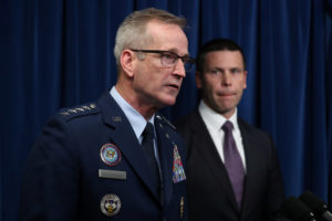 General Terrence John O'Shaughnessy, Commander of the U.S. Northern Command, speaks at a news conference with U.S. Customs and Border Protection Commissioner Kevin McAleenan (R) at a 2018 news conference Photo by Jonathan Ernst/Reuters
