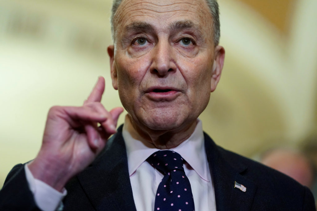Senate Minority Leader Chuck Schumer (D-NY) speaks after a Democratic policy lunch on Capitol Hill in Washington, U.S., January 29, 2019. REUTERS/Joshua Roberts