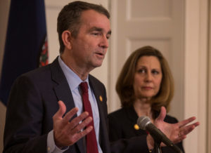 Virginia Gov. Ralph Northam, accompanied by his wife Pamela Northam announces he will not resign during a news conference Richmond, Virginia. Photo by Jay Paul/Reuters
