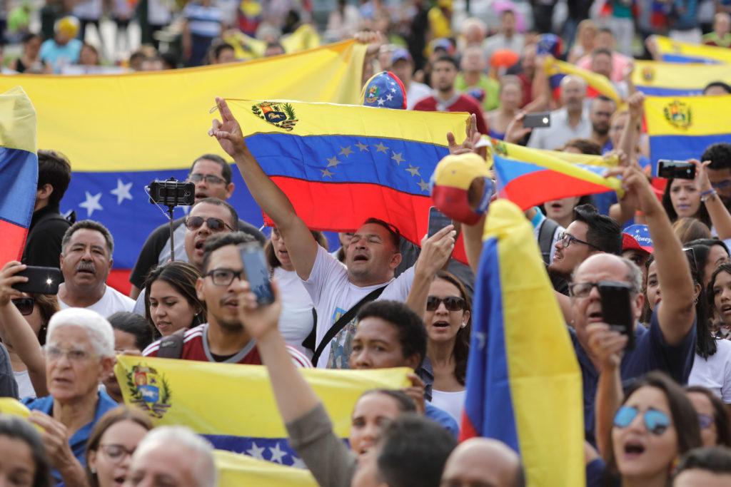 People attend a protest against Venezuela's President Nicolas Madur…