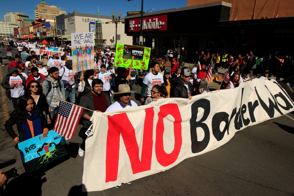 Members of Border Network for Human Rights hold a march to protest against President Donald Trump's proposed wall, in El Paso, Texas. Photo by Jose Luis Gonzalez/Reuters