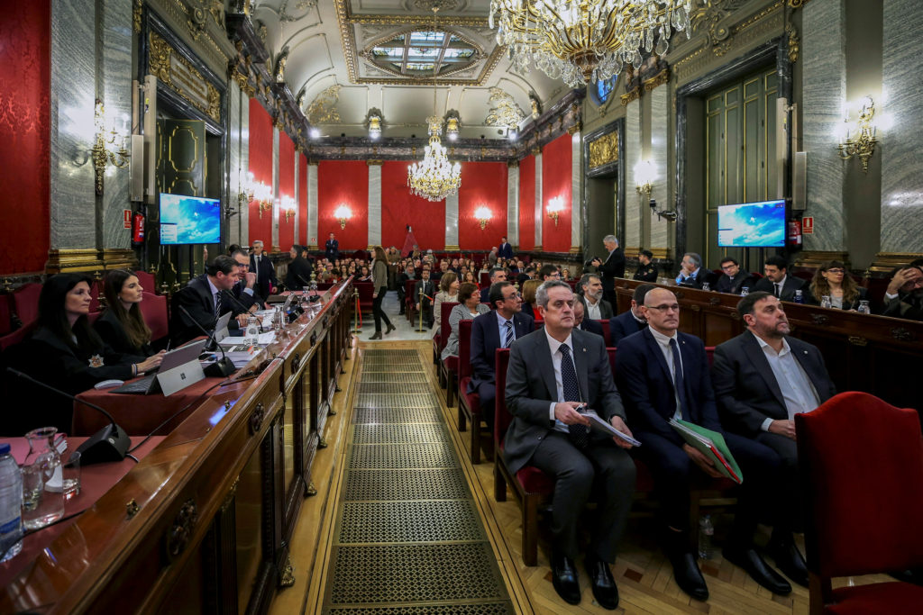 A general view shows the trial of Catalan separatist leaders at Supreme Court in Madrid, Spain. Photo by Emilio Naranjo/Reuters