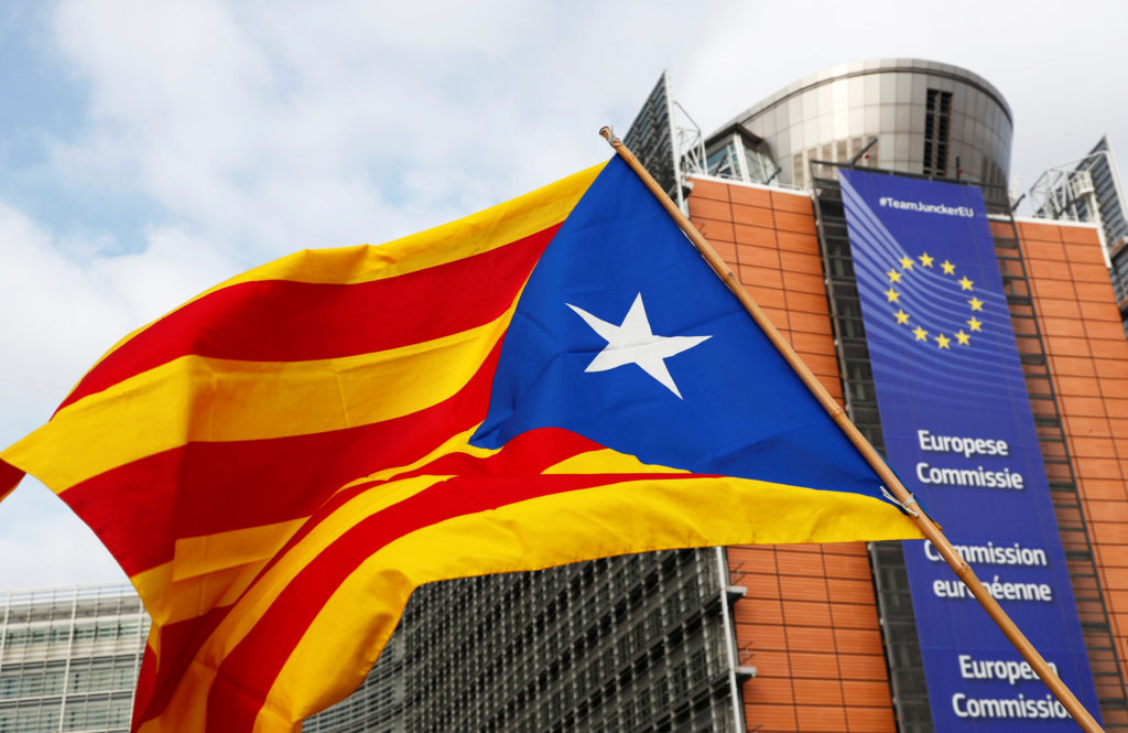 A Catalan separatist flag is pictured during a protest in front of the European Commission headquarters in Brussels, Belgium. Photo by Francois Lenoir/Reuters
