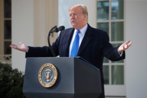 President Donald Trump declares a national emergency at the U.S.-Mexico border while speaking about border security in the Rose Garden of the White House in Washington, D.C. Photo by Carlos Barria/Reuters