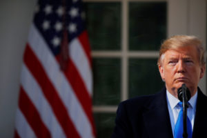 U.S. President Donald Trump pauses during his declaration of a national emergency at the U.S.-Mexico border during remarks about border security in the Rose Garden of the White House in Washington, U.S., February 15, 2019. Photo by Carlos Barria/Reuters