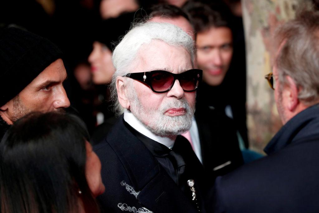 German designer Karl Lagerfeld arrives to attend the official switching on the Christmas lights on the Champs-Elysees avenue in Paris, France. Photo by Benoit Tessier/Reuters