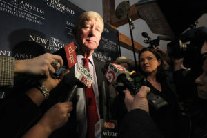 BEDFORD, NH - FEBRUARY 15: Former Massachusetts Governor William Weld speaks to the media at the latest installment of Politics & Eggs at the Bedford Village Inn in Bedford, NH on Feb. 15, 2019. The Politics & Eggs series is a forum for presidential candidates, political leaders, and other political analysts and commentators as they visit New Hampshire, home of the nation's first presidential primary. Weld, the former two-term governor of Massachusetts, said Friday he is launching a presidential exploratory committee, taking a formal step to become the first Republican to directly challenge President Trump in the 2020 GOP primary. (Photo by Suzanne Kreiter/The Boston Globe via Getty Images)