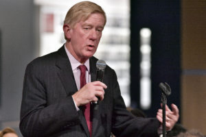 CAMBRIDGE, MA - MARCH 06: Former Massachusetts Governor William Weld asks a question of Martha Raddatz who received the Goldsmith Career Award for Excellence in Journalism at Harvard University' Shorenstein Center on Media, Politics and Public Policy on March 6, 2018 in Cambridge, Massachusetts. (Photo by Paul Marotta/Getty Images)