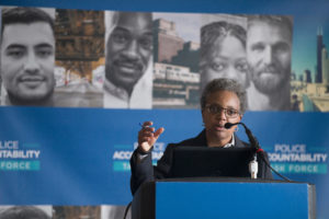 Political outsider Lori Lightfoot (pictured), who was a federal prosecutor in northern Illinois, and Cook County Board President Toni Preckwinkle were the top two vote-getters among 14 candidates. Photo by Scott Olson/Getty Images